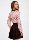 Блузка из струящейся ткани с контрастным воротником oodji #SECTION_NAME# (розовый), 11411117/36005/5429Q - вид 3