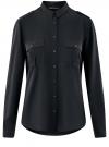 Блузка базовая из вискозы с нагрудными карманами oodji #SECTION_NAME# (черный), 11411127B/42540/2900N
