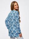 Блузка принтованная из вискозы oodji #SECTION_NAME# (синий), 21412143/42127/1075E - вид 3