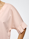 Рубашка хлопковая с V-образным вырезом oodji #SECTION_NAME# (розовый), 13K05001/33113/5400N - вид 5