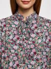 Блузка вискозная с завязками на воротнике oodji #SECTION_NAME# (разноцветный), 11411123/26346/6D41F - вид 4