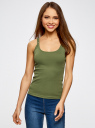 Майка-борцовка с люверсами на лямках oodji для женщины (зеленый), 24305006B/46164/6900N