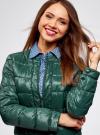 Куртка стеганая с круглым вырезом oodji #SECTION_NAME# (зеленый), 10203050-2B/33445/6900N - вид 4