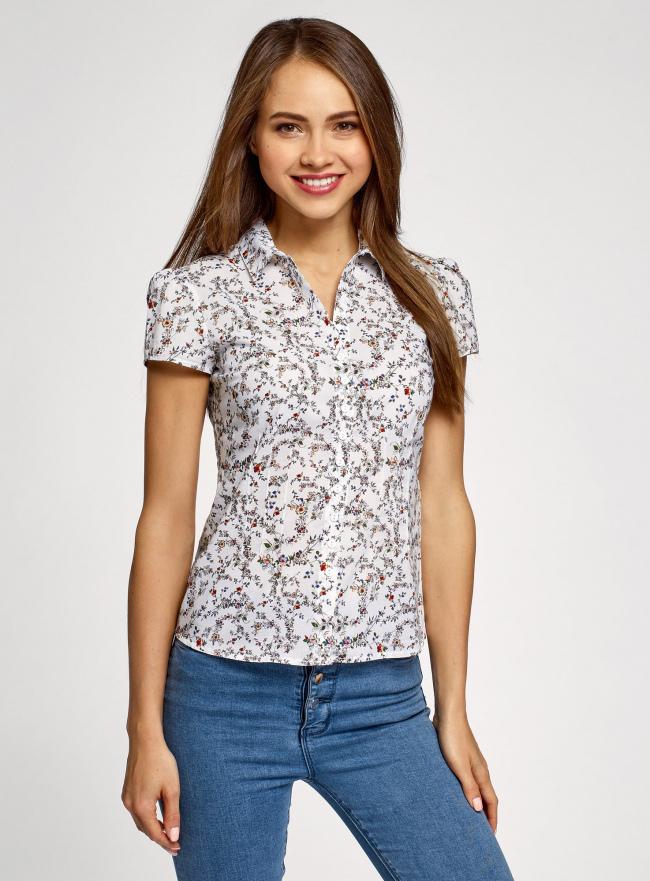 Блузка принтованная из легкой ткани oodji для женщины (слоновая кость), 21407022-7M/12836/1262F