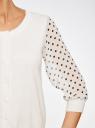 Жакет с принтованными рукавами из шифона oodji #SECTION_NAME# (белый), 63212394-1/43403/1229D - вид 5