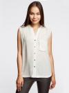 Блузка без рукавов с металлическими кнопками oodji #SECTION_NAME# (белый), 21412131/35251/1200N - вид 2