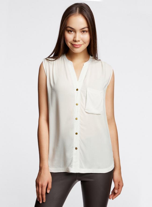 Блузка без рукавов с металлическими кнопками oodji #SECTION_NAME# (белый), 21412131/35251/1200N