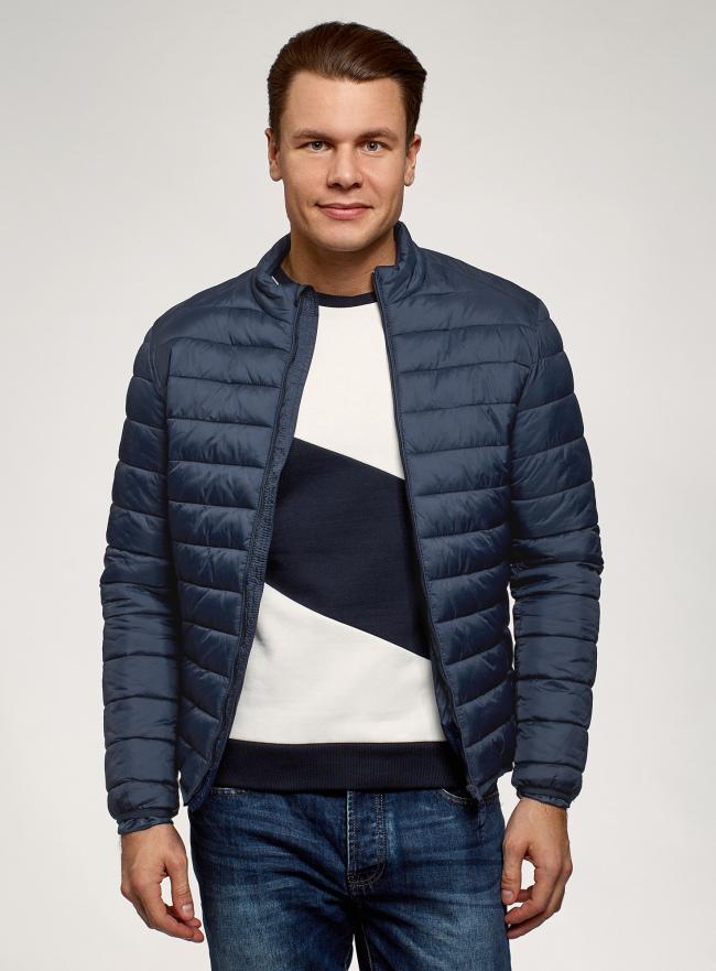 Куртка стеганая с воротником-стойкой oodji для мужчины (синий), 1B111008M/49002N/7900N