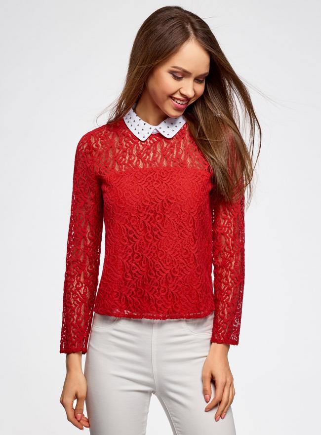 Блузка из кружева с декором на воротнике oodji #SECTION_NAME# (красный), 21411092-1/45967/4500N