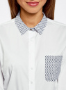 Рубашка базовая с нагрудным карманом oodji #SECTION_NAME# (белый), 11403205-10/26357/1079B - вид 4