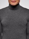 Водолазка базовая облегающая oodji для мужчины (серый), 5B513001M/46737N/2500M