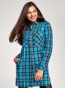 Платье-рубашка с карманами oodji для женщины (бирюзовый), 11911004-2/45252/7329C
