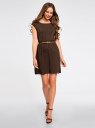 Платье вискозное без рукавов oodji для женщины (коричневый), 11910073B/26346/3700N