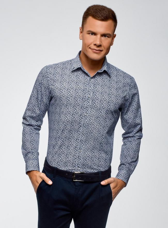 Рубашка базовая приталенная oodji #SECTION_NAME# (синий), 3L110125M/19370N/1079F