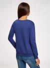 Свитшот комбинированный с полочкой из фактурной ткани oodji #SECTION_NAME# (синий), 14801044-1/19611/7512P - вид 3