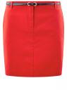 Юбка хлопковая с ремнем oodji #SECTION_NAME# (красный), 11600397-2B/32887/4501N