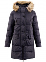 Куртка удлиненная с искусственным мехом на капюшоне oodji для женщины (синий), 10203058/45928/7900N