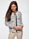 Блузка из струящейся ткани с контрастной отделкой oodji #SECTION_NAME# (белый), 11411059/43414/124AU - вид 2