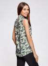 Топ вискозный с нагрудным карманом oodji для женщины (зеленый), 11411108B/26346/6062O - вид 3