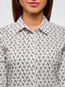 Блузка хлопковая с рукавом 3/4 oodji #SECTION_NAME# (белый), 13K03005B/26357/1075E - вид 4