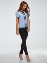 Блузка с коротким рукавом и контрастной отделкой oodji #SECTION_NAME# (синий), 11401254/42405/7029B - вид 6