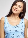 Пижама хлопковая с принтом oodji для женщины (синий), 56002199-9/46154/7033O