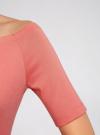 Платье трикотажное с вырезом-лодочкой oodji #SECTION_NAME# (розовый), 14007026-1/37809/4D00N - вид 5