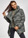 Куртка стеганая с объемным воротником oodji #SECTION_NAME# (зеленый), 10200079/32754/6837O - вид 2
