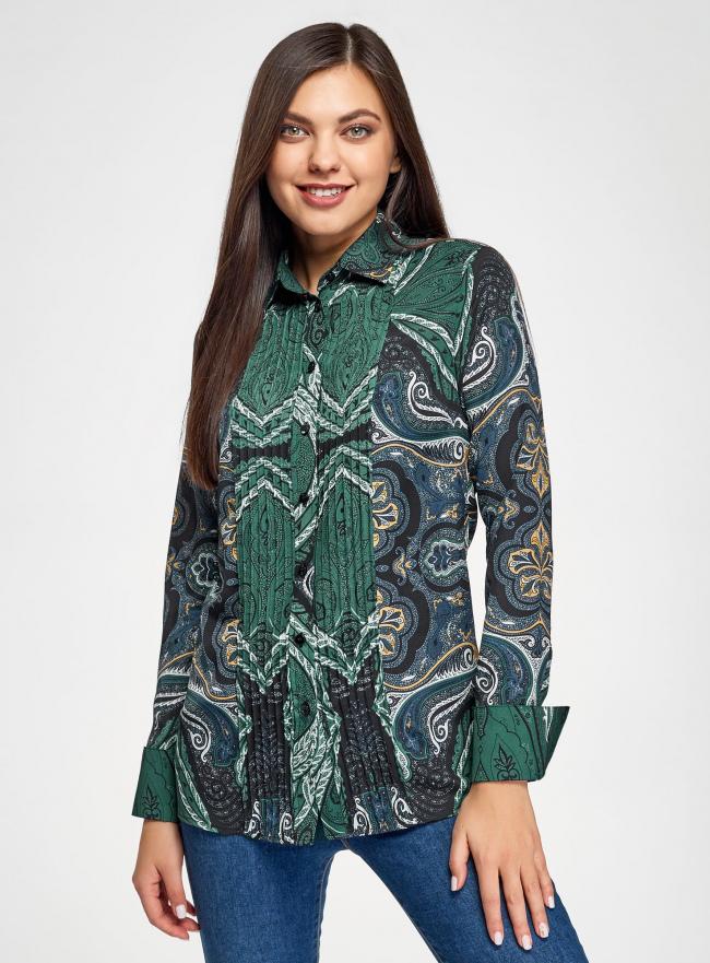 Блузка свободного силуэта с декоративными отстрочками на груди oodji для женщины (зеленый), 21411110/42549/6975E