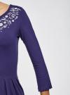 Платье трикотажное приталенное oodji #SECTION_NAME# (синий), 14011005-4/47420/7810P - вид 5