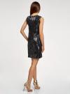 Платье с пайетками и принтом из флока oodji для женщины (черный), 24005135/46121/2929F - вид 3