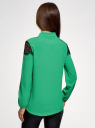 Блузка с кружевными вставками oodji #SECTION_NAME# (зеленый), 21401400M/31427/6D00N - вид 3
