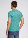 Поло принтованное из ткани пике oodji для мужчины (зеленый), 5L412246M/44031N/6562F