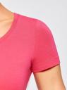 Футболка базовая с декором из страз oodji для женщины (розовый), 14701005-17/46147/4D19P