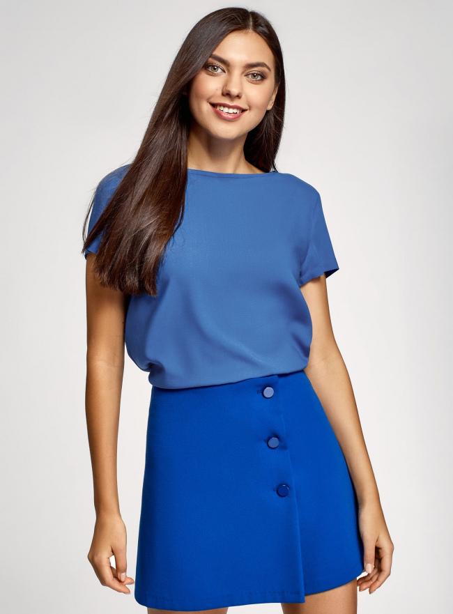 Блузка вискозная свободного силуэта oodji для женщины (синий), 21411119-1/26346/7500N