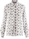 Блузка вискозная прямого силуэта oodji #SECTION_NAME# (белый), 11411098-3/24681/1229O