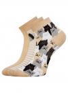 Комплект из трех пар хлопковых носков oodji для женщины (разноцветный), 57102418-5T3/48418/1 - вид 2