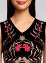 Платье бархатное с вышивкой oodji для женщины (черный), 11913034/45920/2991P