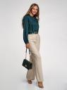 Блузка вискозная с воротником-стойкой oodji для женщины (зеленый), 11411219/50636/6C00N
