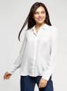 Блузка прямого силуэта из струящейся ткани oodji для женщины (белый), 11411216/36215/1200N