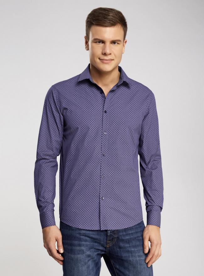 Рубашка приталенная с мелким принтом oodji #SECTION_NAME# (фиолетовый), 3L110237M/19370N/8880G