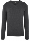 Пуловер базовый с V-образным вырезом oodji #SECTION_NAME# (серый), 4B212007M-1/34390N/2500M