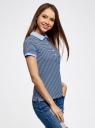 Поло базовое из ткани пике oodji для женщины (синий), 19301001-1B/46161/7079S