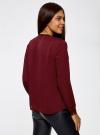 Блузка из струящейся ткани с контрастной отделкой oodji #SECTION_NAME# (красный), 11411059/43414/4900N - вид 3