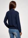Блузка из струящейся ткани с нагрудными карманами oodji #SECTION_NAME# (синий), 11401278/36215/7900N - вид 3