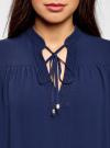 Блузка из шифона свободного силуэта с завязками oodji #SECTION_NAME# (синий), 21400402/17358/7500N - вид 4