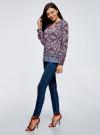 Блузка прямого силуэта с V-образным вырезом oodji #SECTION_NAME# (разноцветный), 21400394-3M/24681/2949E - вид 6