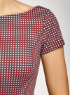 Платье трикотажное принтованное oodji #SECTION_NAME# (красный), 14001117-7/16564/4912G - вид 5