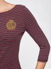 Платье трикотажное в полоску oodji #SECTION_NAME# (красный), 14001071-11/46148/4929S - вид 5
