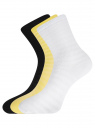 Комплект хлопковых носков в полоску (3 пары) oodji #SECTION_NAME# (разноцветный), 57102813T3/48022/10 - вид 2